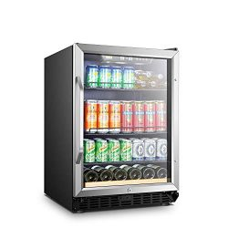 LANBO Beverage Cooler Refrigerator, 110 Cans 6 Bottles Built-in Compressor Drink Fridge with Dou ...