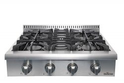 "Thor Kitchen Silver 30"" Pro-Style Gas Range Cooktop Rangetop Gas Stove Top Cookerwith 4 Bu ..."