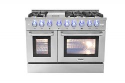 Thorkitchen HRD4803U 48″ Freestanding Professional Style Dual Fuel Range with 4.2 and 2.5  ...