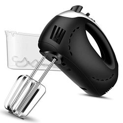 Electric Hand Mixer with Turbo, 5 Speed Hand Beater Kitchen Mixer with 2 Wider Beaters, 2 Dough  ...
