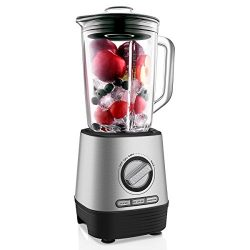Professional Countertop Blender, Household Blender Food Processor with 1500 Milliliter Glass Jar ...