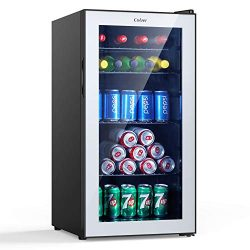 Colzer Beverage Refrigerator and Cooler – 2.9 Cu. Ft. Drink Fridge with Glass Door for Sod ...