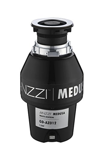 ANZZI Medusa 1/2 HP Sink Garbage Disposal for Kitchen | 2600 RPM Stainless SteelFood Disposal Gr ...
