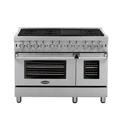 Cosmo DFR486G 48 in Free-standing Dual Fuel Range | 6 Sealed Burner Rangetop, Double Convection  ...