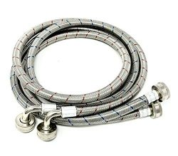 2-Pack Premium Stainless Steel Washing Machine Hoses – 5 FT No-Lead Burst Proof Red and Bl ...