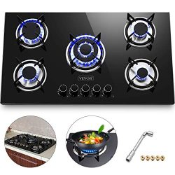 Happybuy 36″x21″ Built-in Gas Cooktop 5 Burners LPG/NG Gas Stove Cooktop Tempered Gl ...