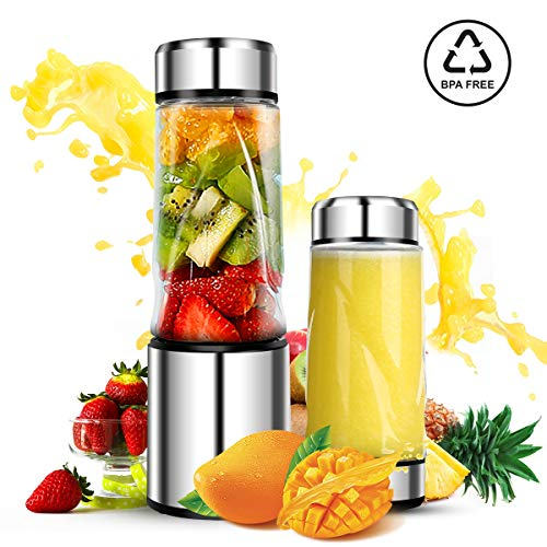 Portable Smoothie Blender, DmofwHi USB Rechargeable Personal Blender for On-The-Go/Travel, Drive ...