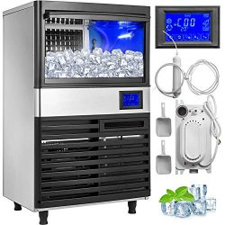 VEVOR 110V Commercial Ice Maker 110LBS/24H with 44LBS Storage Stainless Steel Commercial Ice Mac ...