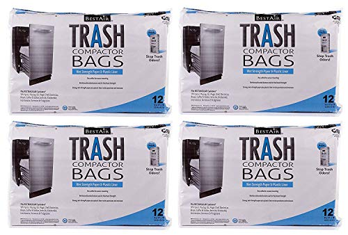 """RPS PRODUCTS BestAir Trash Compactor Bags(16"""" D. x 9"""" W. x 17"""" H,Pack of 12) ( ..."""