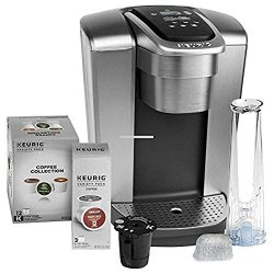 Keurig Fil K-Elite C Single Serve Coffee Maker (Brushed Silver) with 15, Water Filter, and My K- ...