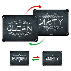 Dishwasher Magnet Reversible Clean Dirty Sign, Chalkboard Style Double Sided Flip Sign, Dishwash ...