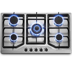 Happybuy 34″x20″ Built-in Gas Cooktop 5 Burners LPG/NG Gas Stove Cooktop Stainless S ...