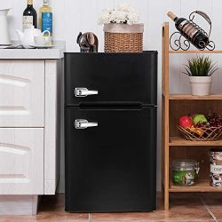 Bossin 3.2 CU. FT Compact Refrigerator with Handle MIni Fridge Chiller and Freezer Compartment w ...