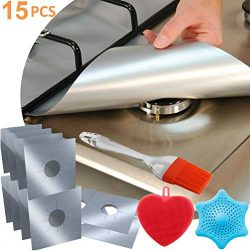 12-Pack Reusable Gas Stove Burner Covers Silver, 2x Silicone Brush + 1pc Silicone Drain Cover, N ...