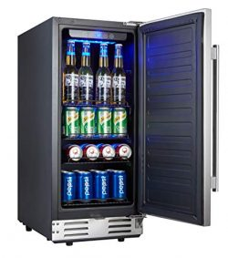 Kalamera 15″ Beverage Cooler Refrigerator Built-in with Solid Stainless Steel Door