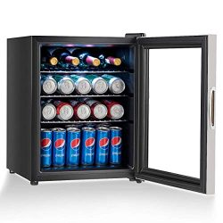 COSTWAY Beverage Refrigerator and Cooler, 52 Can Mini Fridge with Glass Door for Soda Beer or Wi ...