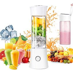 Portable Blender,USB Rechargeable Personal Smoothie Blender Mini Juicer Cup 480ML Fruit Juice Mi ...