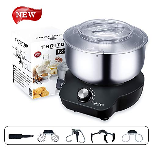 THRITOP Stand Mixer Food Mixers, with 5L Mixing Bowl for Bread and Dough, Electric Mixer with Do ...