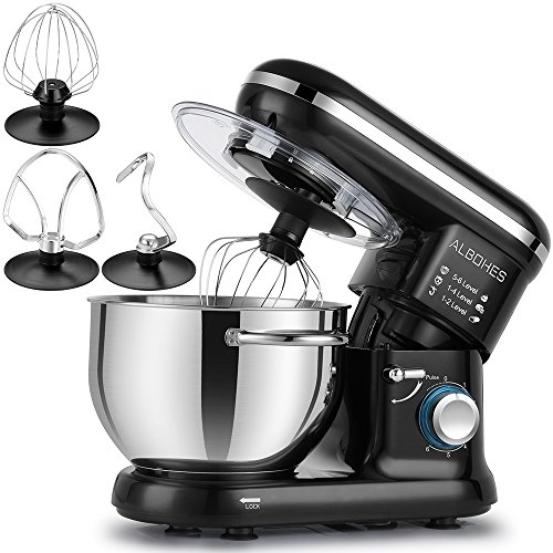 ALBOHES Stand Mixer, 600W 6 Quart 6-Speed Tilt-Head Dough Mixer, Electric Kitchen Mixers Food Mi ...