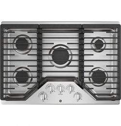 GE JGP5030SLSS 30 Inch Gas Cooktop with Power Boil, Simmer, Continuous Grates, 5 Sealed Burners  ...
