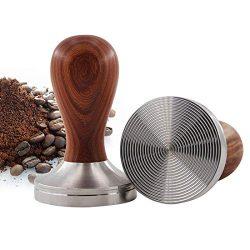 InBlossoms Espresso Tamper,Premium Coffee Tamper Thick Aluminum Base Stainless Steel Hammer Wood ...