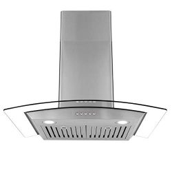 Cosmo 668A750 30-in Wall-Mount Range Hood 380-CFM | Ducted / Ductless Convertible Duct , Glass C ...