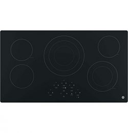 GE JP5036DJBB 36 Inch Smoothtop Electric Cooktop with 5 Radiant Elements, Center Tri-Ring Burner ...