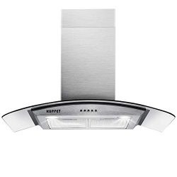 KUPPET Pro-Style 30″ Wall Mount Range Hood, Tempered Glass Ducted Exhaust Vent, High-End L ...