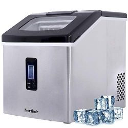 Northair Ice Maker Countertop with 40lbs/Day (500 Cups Drinks), 24pcs Ice Cube Produce in 15 Min ...