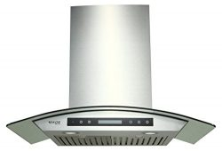 EKON NAP03-30″ Wall Mounted Stainless Steel & Curved Glass Kitchen Range Hood / 4 Spee ...
