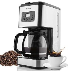 Coffee Maker Barsetto 10 Cup Coffee Machine Stainless Programmable Setting Silent Operation Drip ...