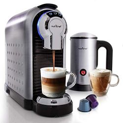 NutriChef Espresso Coffee Machine & Cappuccino Maker with Milk Frother – Compatible wi ...