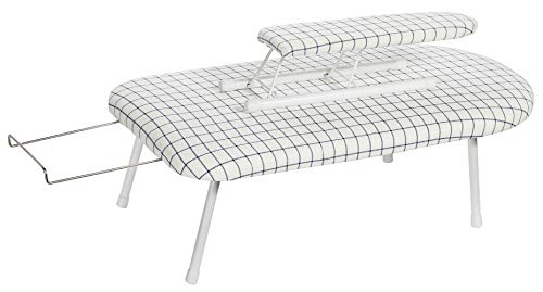 STORAGE MANIAC Tabletop Ironing Board with Sleeve Board & Iron Rest, Folding Legs with Cotto ...