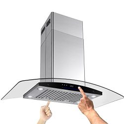 AKDY New 30″ European Style Island Mount Stainless Steel Range Hood Vent Swiping Sensor Co ...