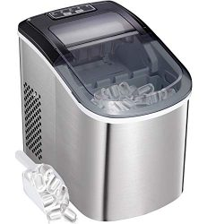 Countertop Ice Maker Portable Ice Making Machine -Bullet Ice Cubes Ready in 6 Mins – Makes ...