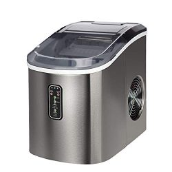 Euhomy Countertop Ice Maker Machine, Makes 26 lbs Ice in 24 hrs-Ice Cubes Ready in 9 Mins, Compa ...
