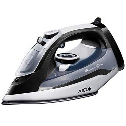 AICOK Steam Iron, 1400W Non-Stick Soleplate Iron, Variable Temperature and Steam Control, Anti-D ...