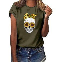 LONGDAY Women Plus Size Summer Short Sleeves Sunflower T-Shirt Tunic Girls Top Casual Print Tee  ...