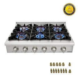 Thor kitchen Pro-Style Gas Rangetop with 6 Sealed Burners 36 – Inch, Stainless Steel HRT36 ...