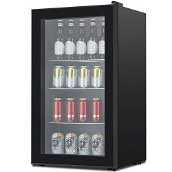 KUPPET 120-Can Beverage Cooler and Refrigerator, Small Mini Fridge for Home, Office or Bar with  ...