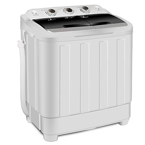 SUPER DEAL Portable Compact Mini Twin Tub Washing Machine XL 17.6lbs Capacity w/Wash and Spin Cy ...