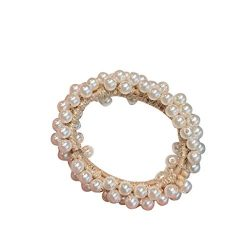 LIM&Shop Hair Accessories Hair Ring Pearls Hair Rope Multi Layer Hairband Women Beaded Scrun ...