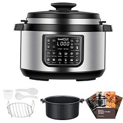 Geek Chef 8 Qt Electric Pressure Cooker with non stick oval inner pot, 12 Presets Programmable M ...