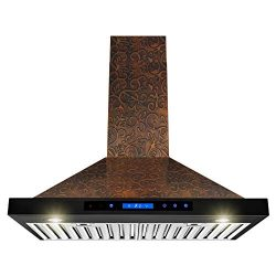 AKDY Wall Mount Range Hood -30″ Embossed Copper Hood Fan for Kitchen – 4-Speed Profe ...