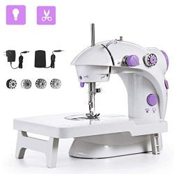 Sewing Machine, Mini Portable Double Speed Kid's Sewing Machine for Beginners with Light E ...