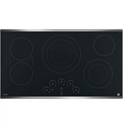 GE PP9036SJSS 36 Inch Electric Cooktop with 5 Radiant, Bridge SyncBurners, 6″/9″/12  ...