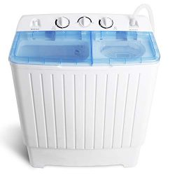 "SUPER DEAL Portable Washer Mini Twin Tub Washing Machine 17.6 lbs w/78.8"" Inlet Hose, Grav ..."