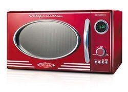 Nostalgia RMO4RR Retro Large 0.9 cu ft, 800-Watt Countertop Microwave Oven,12 Pre-Programmed Co ...