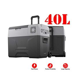 JASSCOL 40L Portable Freezer Cooler AC/DC Compressor Refrigerator Fridge -4°F Trolley Wheels for ...