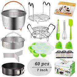 ASBYFR 19Pcs Cooker Accessories Fits Instant Pot 6 qt 8 qt, Ninja Foodi 8qt, 2 Steamer Baskets,  ...